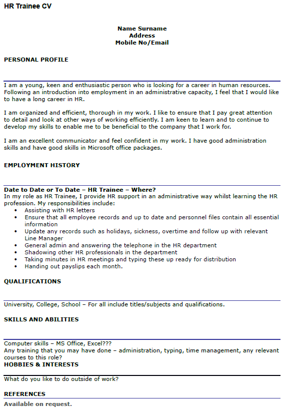HR Trainee CV Example Icover Org Uk