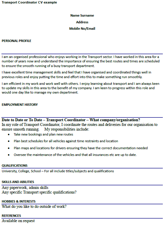 Transport Coordinator CV Example Icover Org Uk