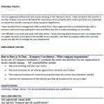 Transport Coordinator CV Example