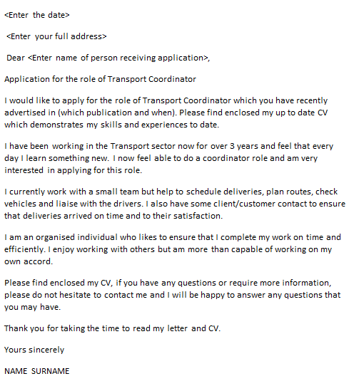 Transport Coordinator Cover Letter Example Icover Org Uk