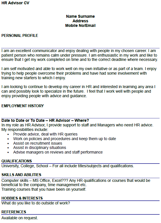HR Advisor CV Example Icover Org Uk