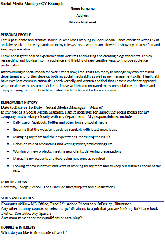 Social Media Manager CV Example Icover Org Uk