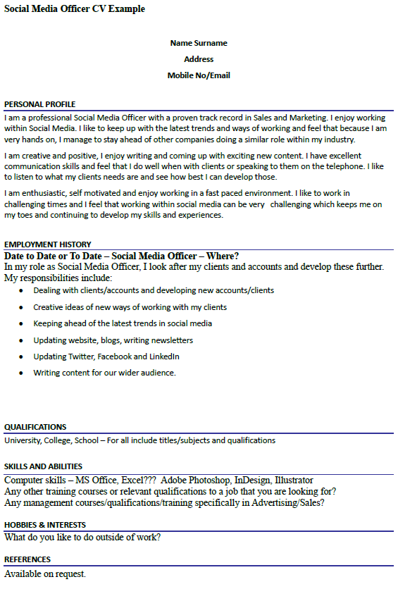 Social Media Officer CV Example Icover Org Uk