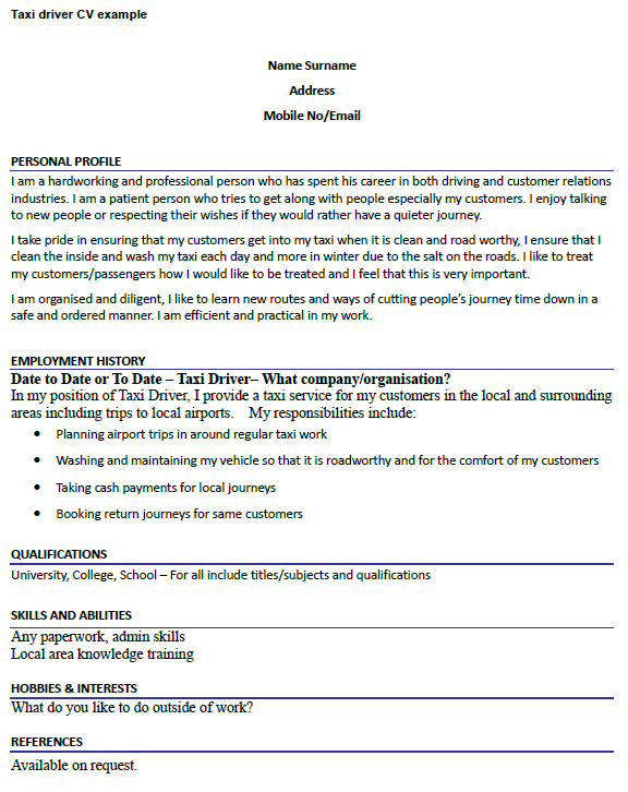 Taxi Driver CV Example Icover Org Uk