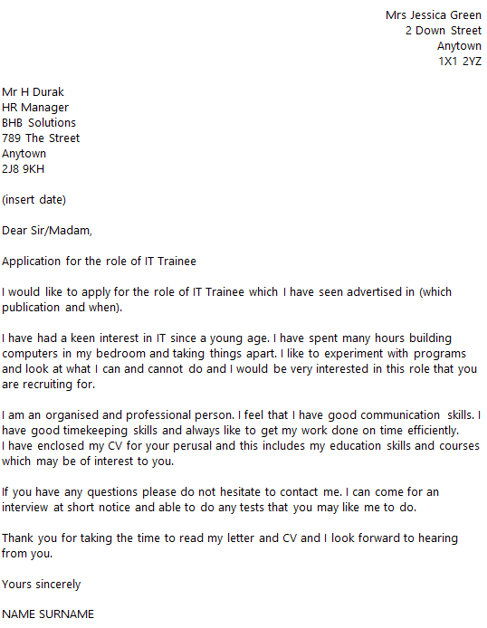 IT Trainee Cover Letter Example Icover Org Uk
