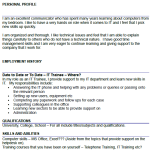 IT Trainee CV Example