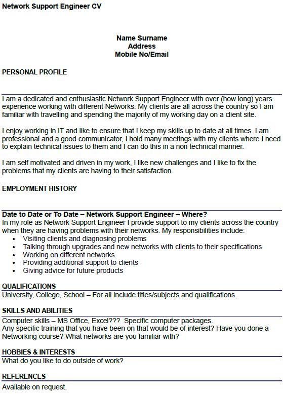 first cv example