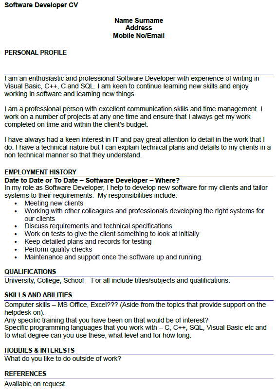 Software Developer CV Example Icover Org Uk