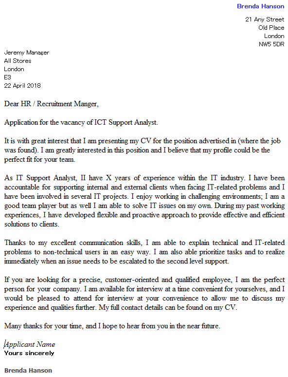 ICT support analyst cover letter