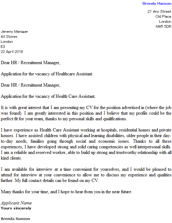 Health Care Assistant Cover Letter Example  icoverorguk