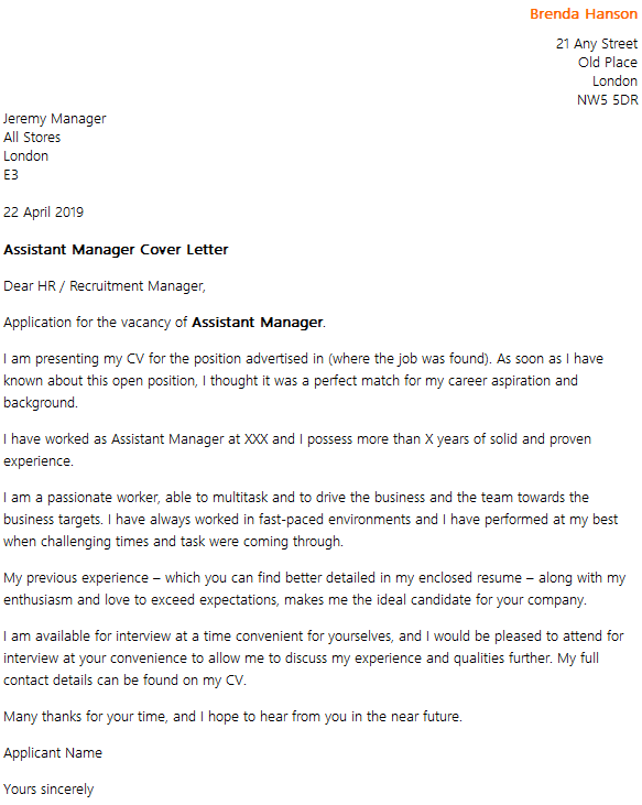 Assistant Manager Cover Letter Example Icover Org Uk