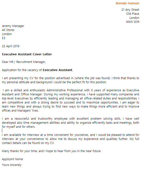 Executive assistant cover letter example icoverorguk for Executive assistant cover letter 2014