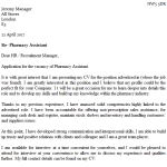Pharmacy Assistant Cover Letter Example
