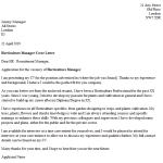 Horticulture Manager Cover Letter Example