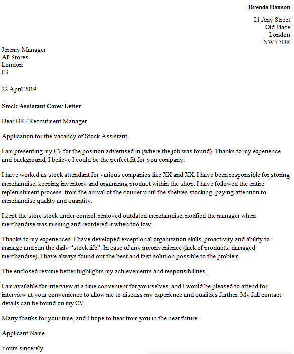 Stock Assistant Cover Letter Example  icoverorguk