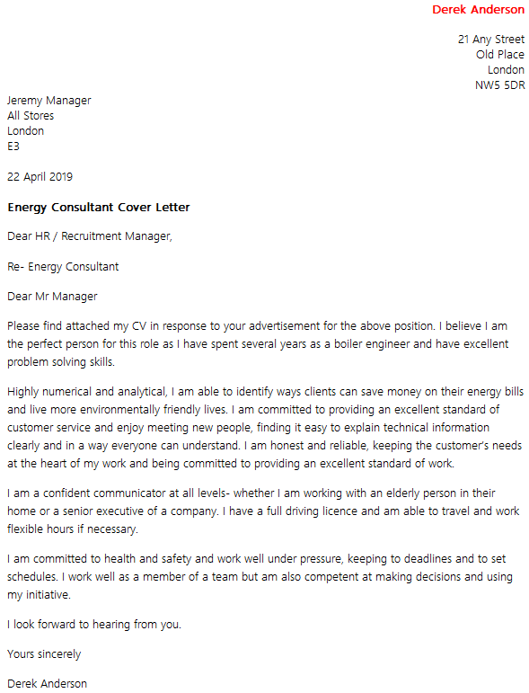 Energy Consultant Cover Letter Example  icoverorguk