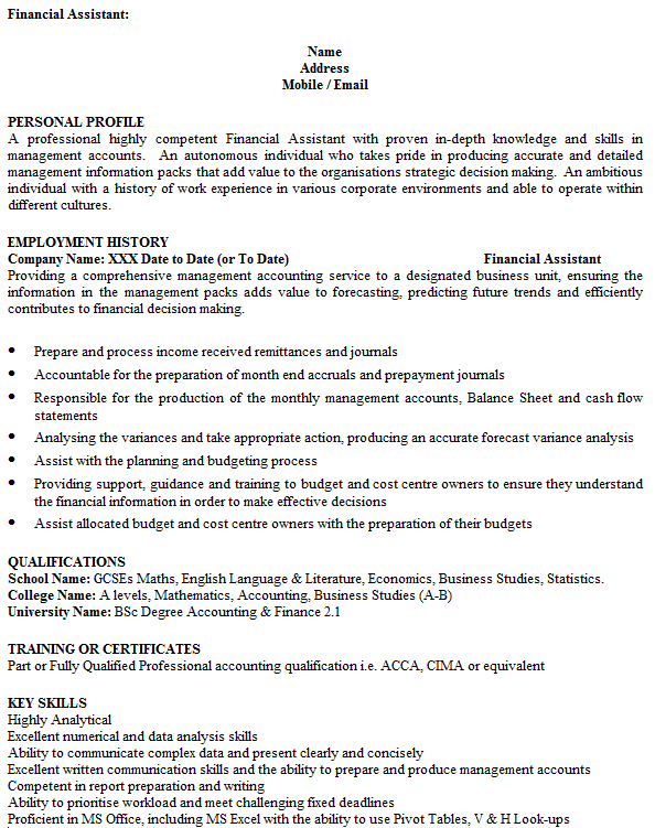 financial assistant cv example