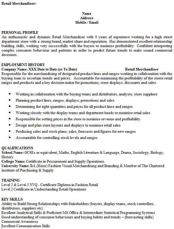 Merchandiser CV Example Icover Org Uk