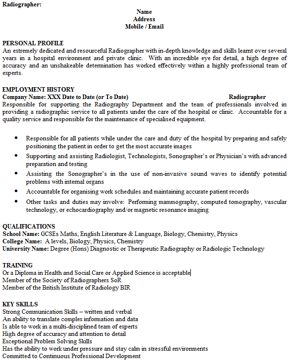 Radiographer Cv Example Icover Org Uk