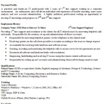 1st Line Support Engineer CV Example