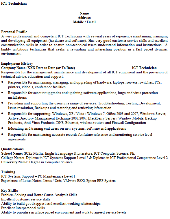 ICT Technician CV Example Icover Org Uk