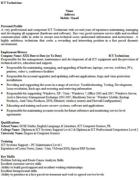 ICT Technician cv example