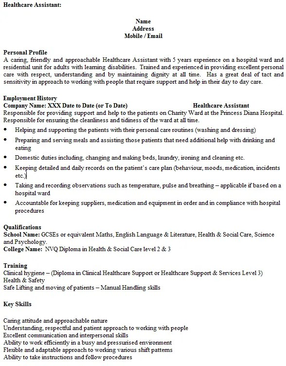 Healthcare Assistant CV Example  icoverorguk