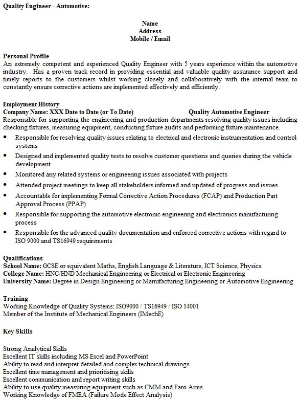 Quality Engineer CV Example Icover Org Uk