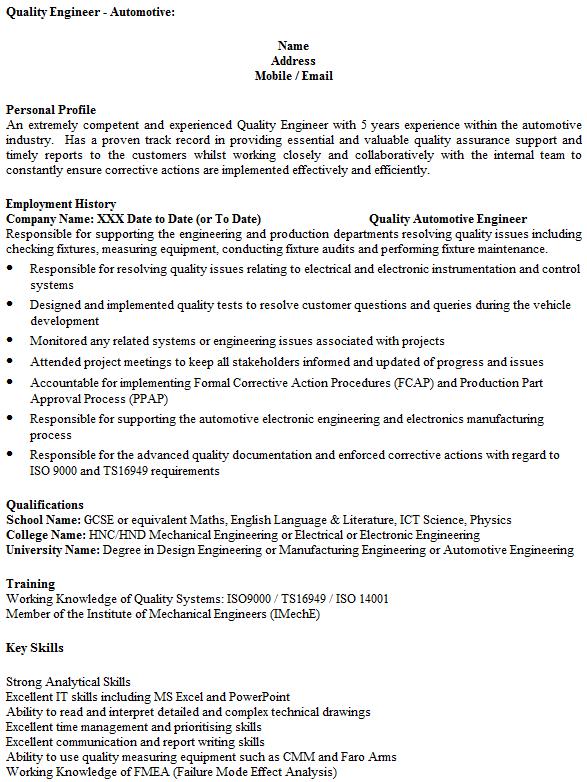 resume failure sample