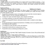Service Engineer CV Example