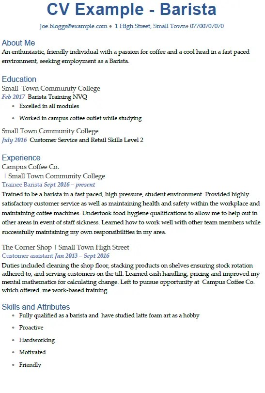 Barista CV Example Icover Org Uk