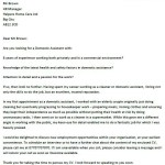 Domestic Assistant Cover Letter Example