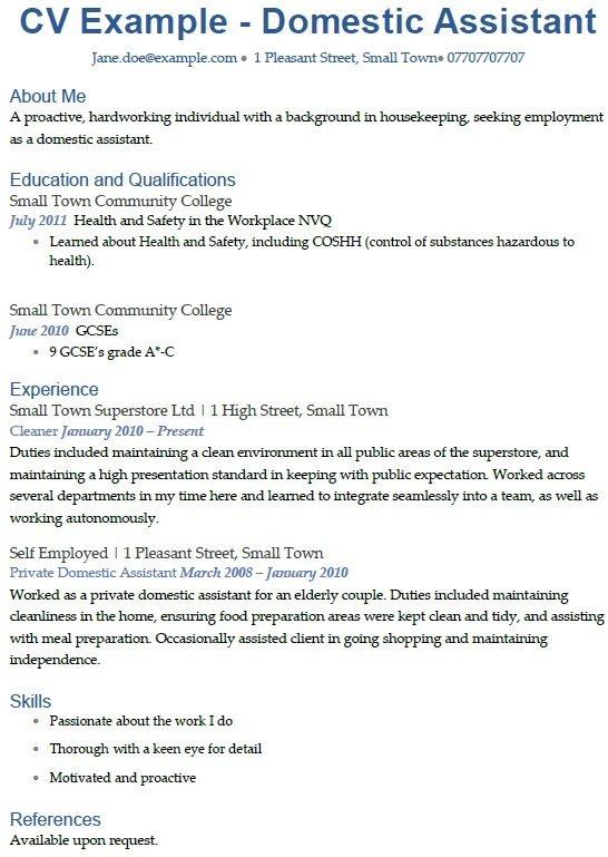 Domestic Assistant CV Example  icoverorguk