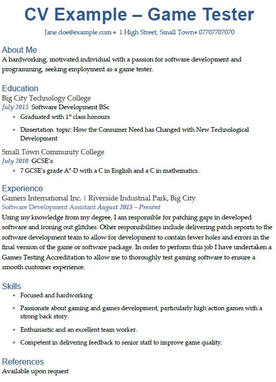 Game Tester CV Example Icover Org Uk