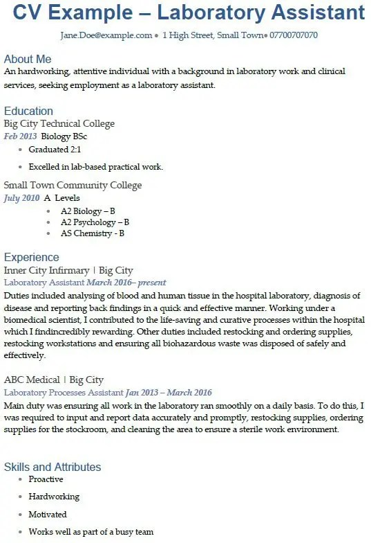 Laboratory Assistant CV Example Uk