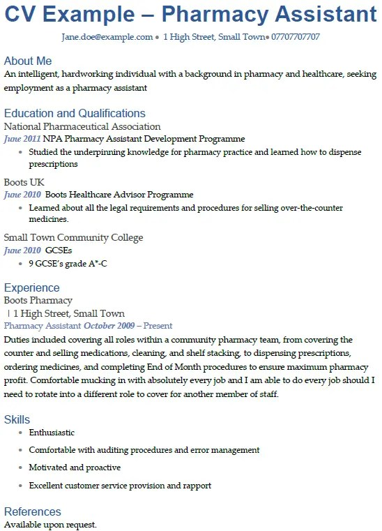 Pharmacy Assistant CV Example Icover Org Uk