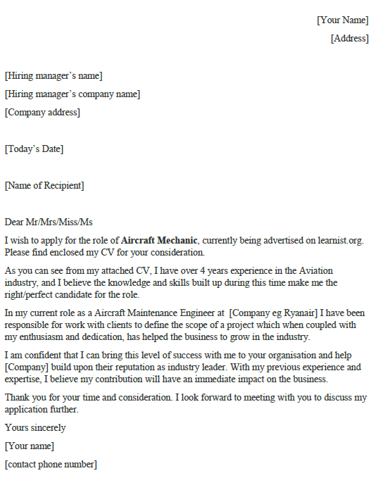 Aircraft Mechanic Cover Letter Example Icover Org Uk