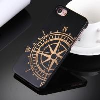 Artistic Compass Wheel on Black Bamboo Wood iPhone 7 Case 1