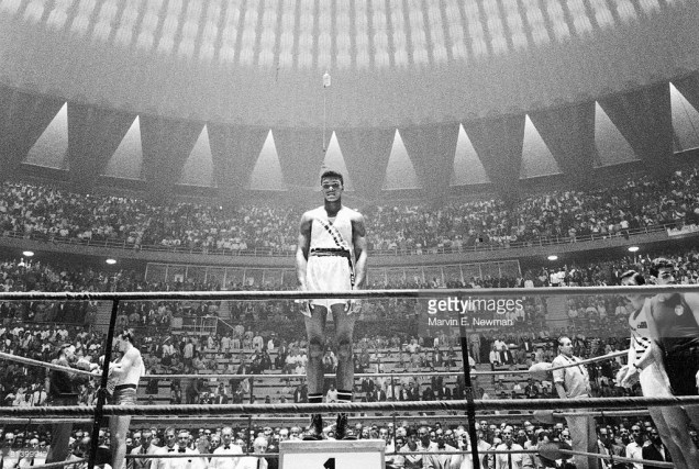 1960 Summer Olympics, USA Cassius Clay victorious on podium after winning light heavyweight gold medal, View of Palazzo dello Sport stadium, Rome, Italy Sept 5, 1960 (Marvin E. Newman/Getty Images