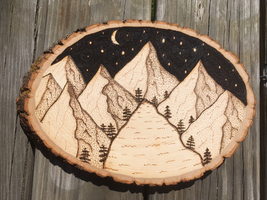 Mountain Scene Wood Sign Woodland Wall Sign Wood Burned