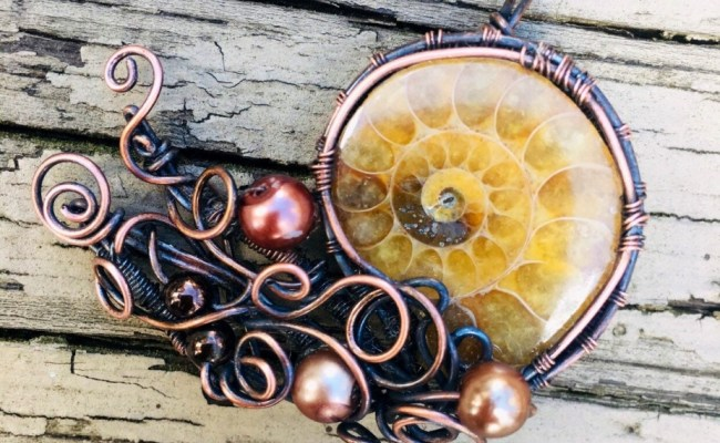 Wire Wrapped Pendant Necklace Ammonite Copper Wire Wrapped