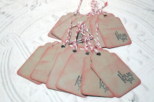 12pc I Love You Mini Kraft Paper Distressed Tags with Bakers Twine