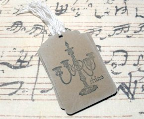 12pc Stamped Shine Vintage Candlestick Mini Kraft Paper Distressed Tags
