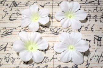 2 in. White Artificial Silk Flower - 4 pc Craft Embellishment