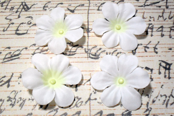 2 in. White Artificial Silk Flower - 4 pc Craft Embellishment