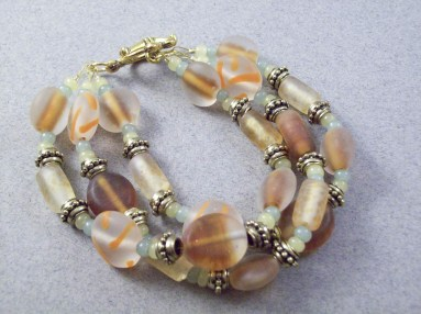 3 strand molten glass beaded chunky bracelet