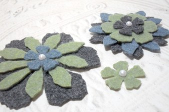 3pc Large Pearl Top Felt Flowers - Green Black and Blue