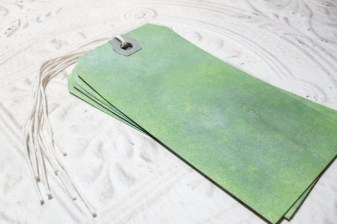 4 pc Olive Green Metallic Stained Luggage Style Tags