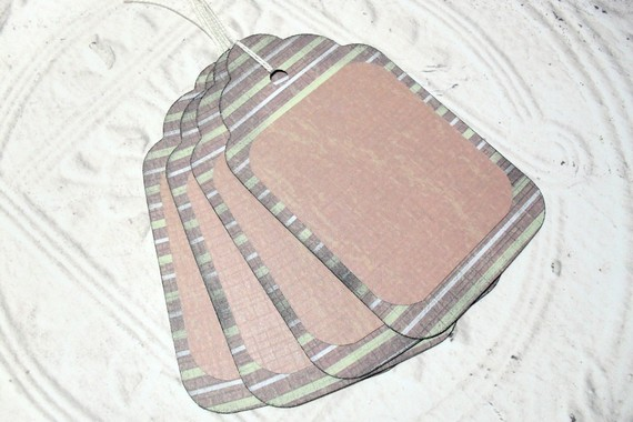 4pc Large Green Brown Stripe Rustic Distressed Gift Tags