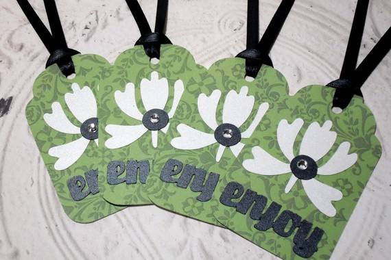 4pc Large Green Enjoy Flower Jewel Tags with Black Ribbon
